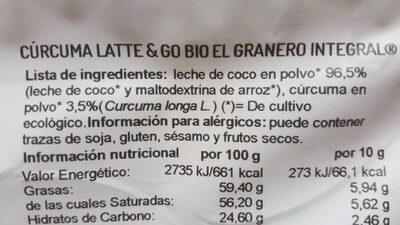 Cuecuma latte y go - Ingrediënten