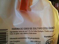 Bio harina de coco premium de cultivo ecológico sin lactosa - Ingrédients - es