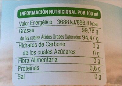 Aceite de coco virgen extra Bio - Informations nutritionnelles