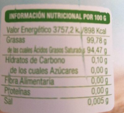 Aceite de coco virgen extra Bio - Nutrition facts