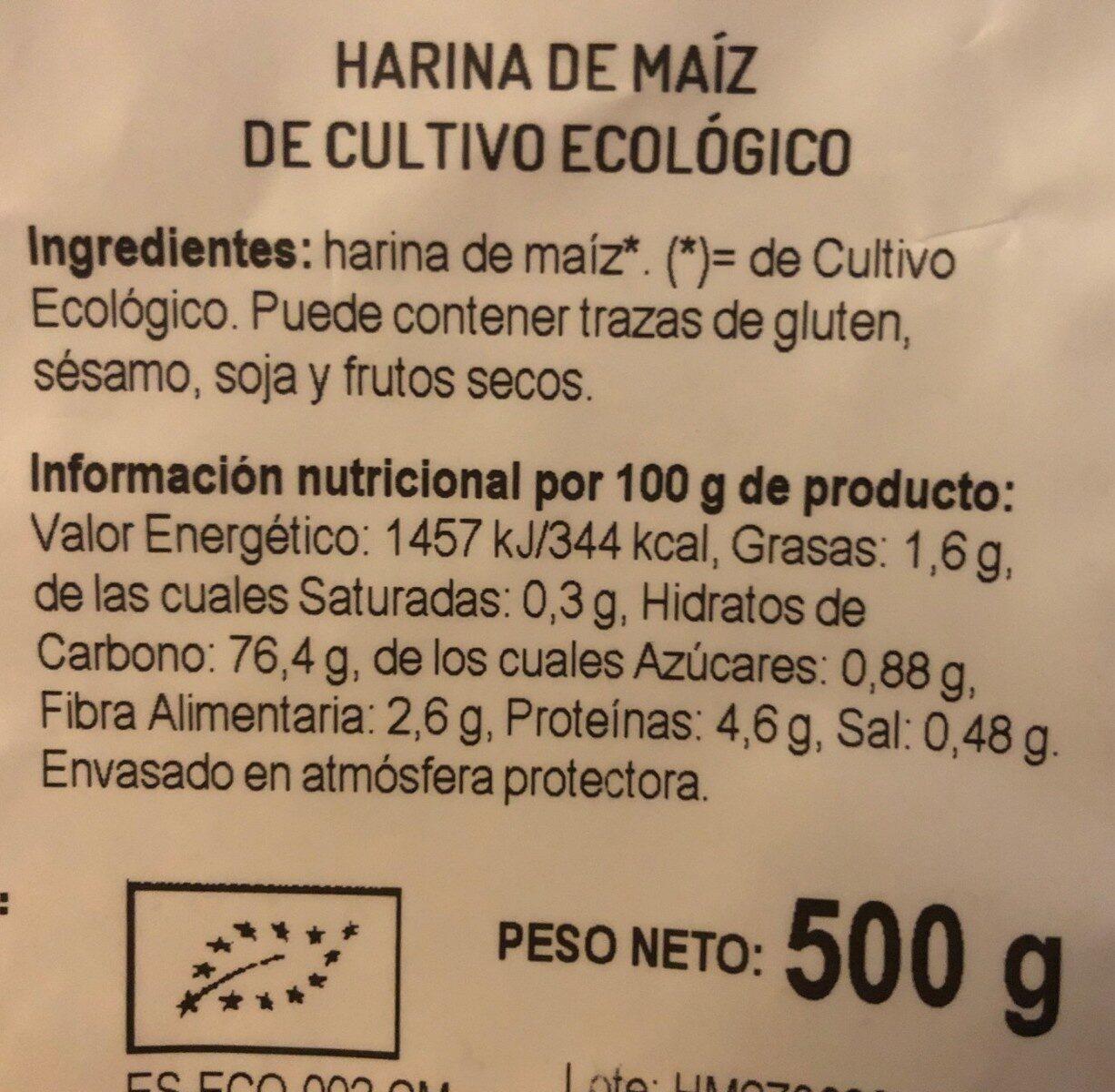 Harina de Maíz de cultivo ecológico - Información nutricional - es