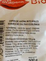 Copos Avena Suaves Bio 500G Eg - Ingredients