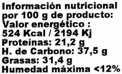 Semillas de chía - Informació nutricional