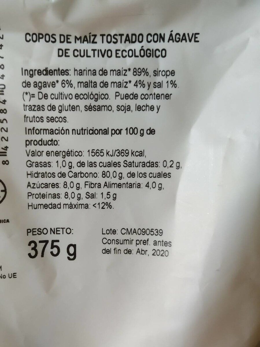 Copos de maíz tostado con Agave - Nutrition facts