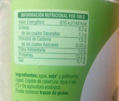 Tofu El Granero integral - Ingredients