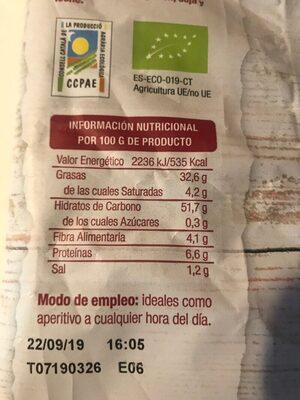Bio palitos de quinoa y chía de cultivo ecológico - Nutrition facts