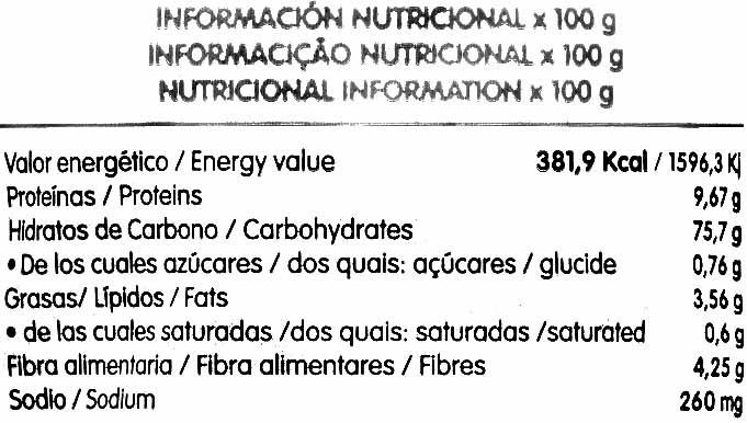Tortitas con 8 cereales - Informations nutritionnelles - es