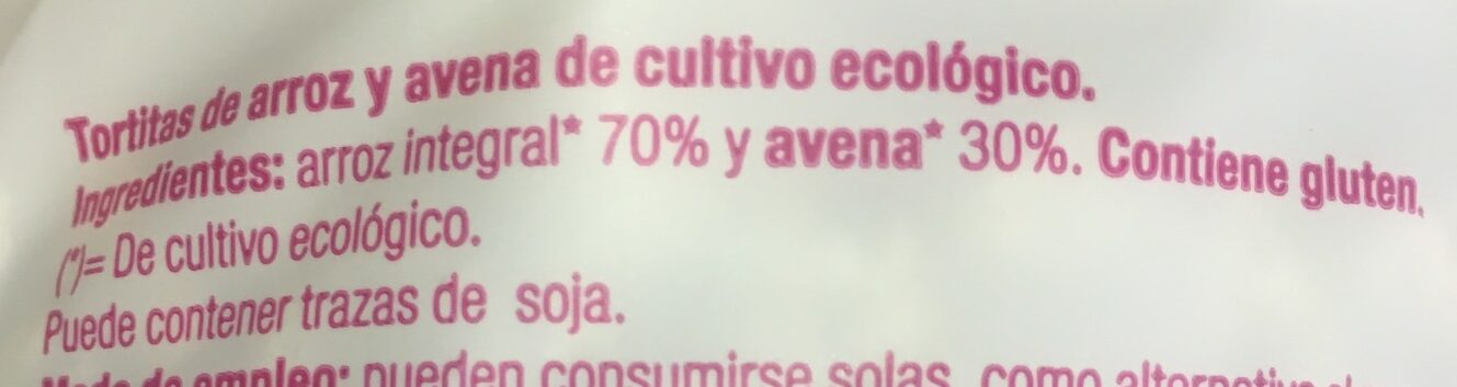 Tortitas Arroz Avena - Ingredientes - es