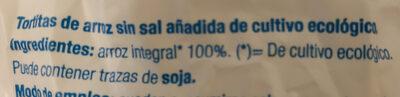 Tortitas de arroz sin sal - Ingrediënten