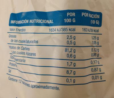 Tortitas de arroz sin sal - Voedigswaarden