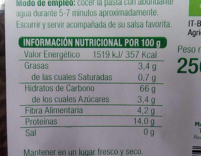 Fusilli de trigo sarraceno integral - Información nutricional
