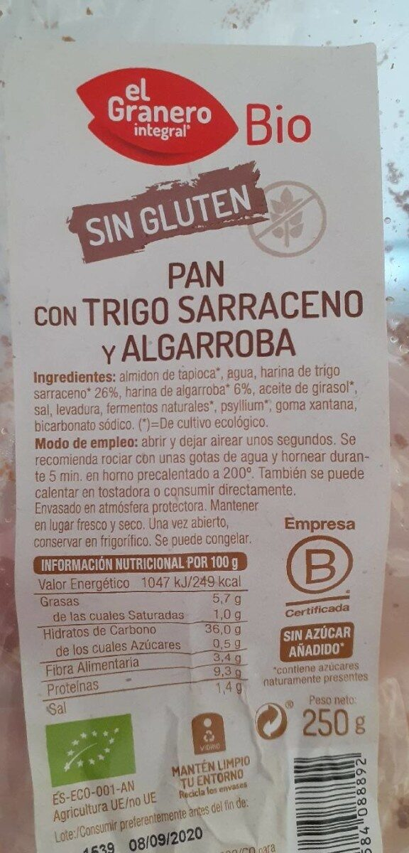 pan con trigo sarraceno y algarroba - Información nutricional - es