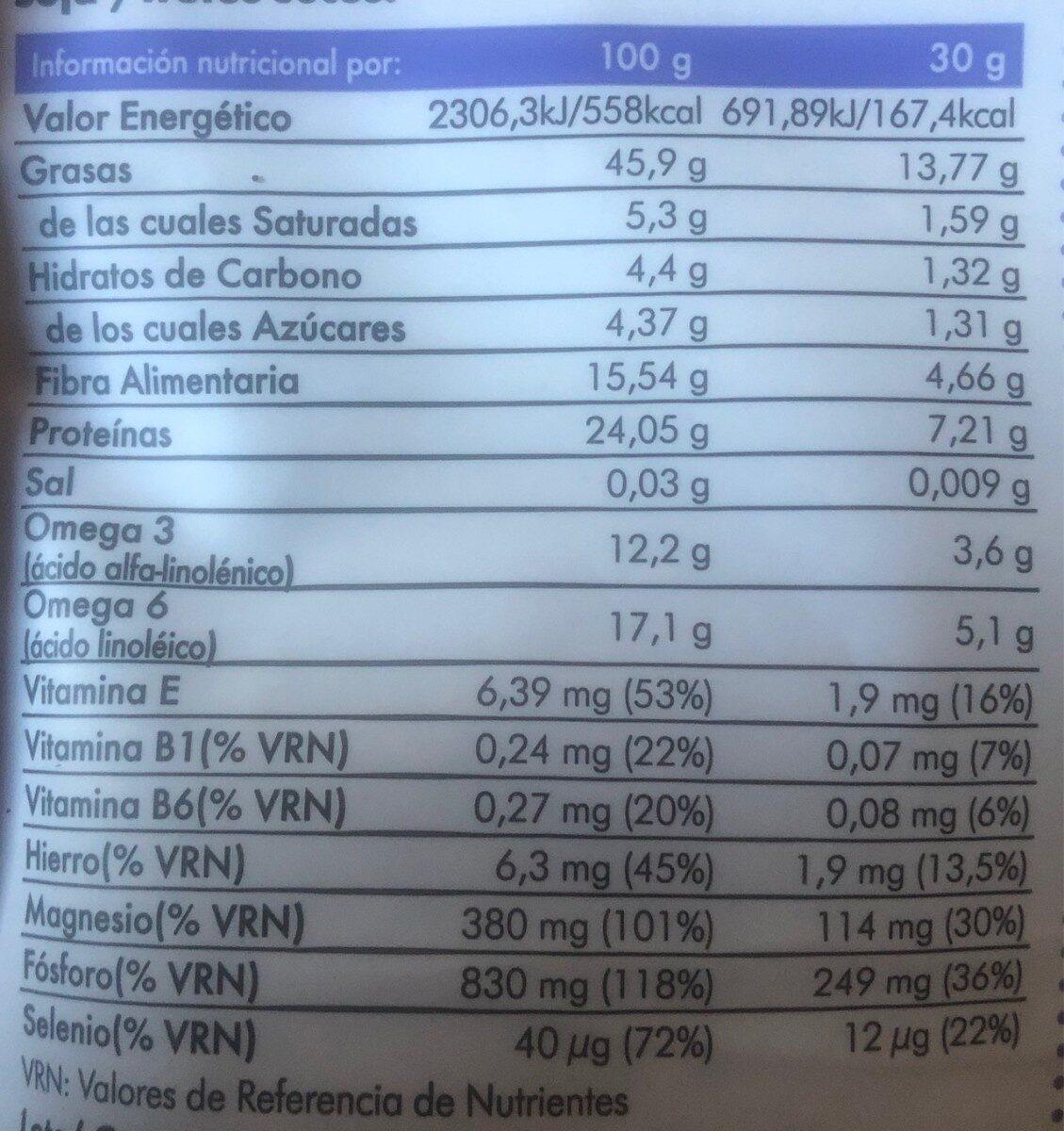 Vita seeds - Informació nutricional - es