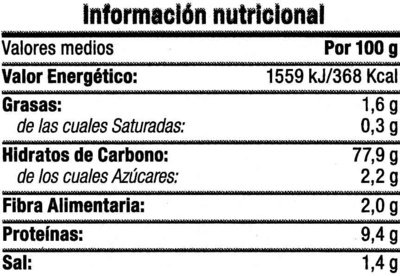 Tostadas de trigo sarraceno - Informations nutritionnelles - es