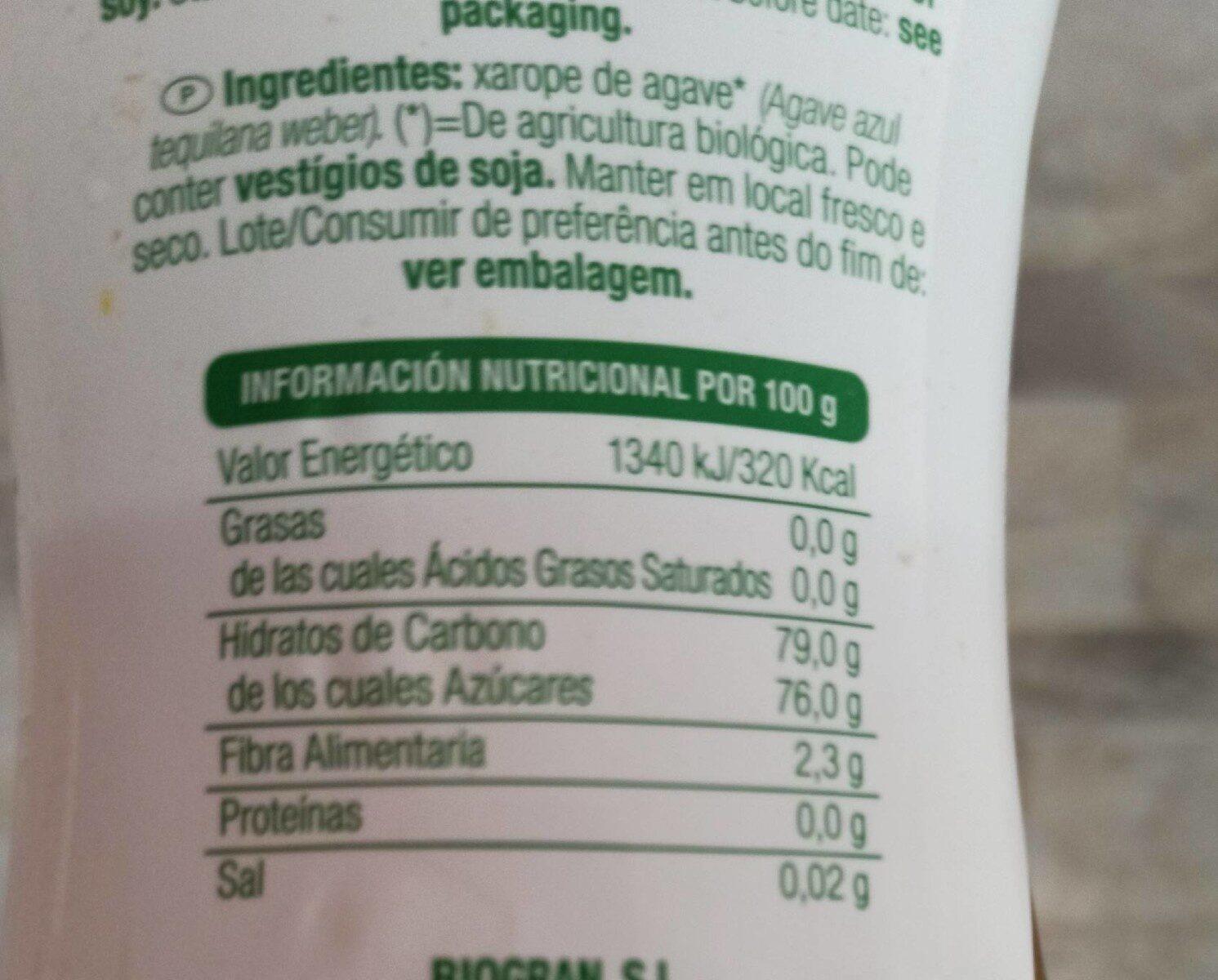 Sirope de agave azul - Nutrition facts - es
