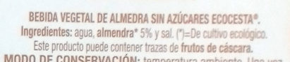 Bebida Vegetal de Almendra Sin Azúcares - Ingredientes