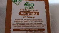 Bebida Vegetal de Almendra Sin Azúcares - Ingrédients