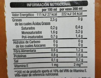 Bebida almendra - Informations nutritionnelles - es
