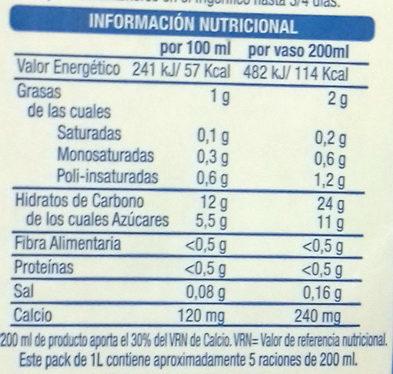 Bebida vegetal de arroz con calcio - Información nutricional