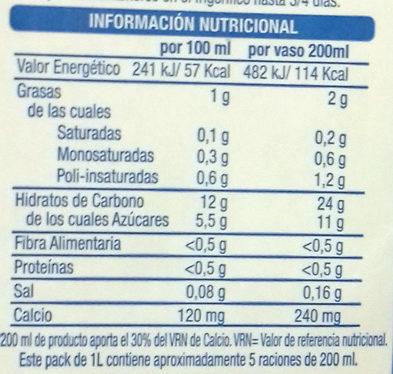 Bebida vegetal de arroz con calcio - Informations nutritionnelles - es