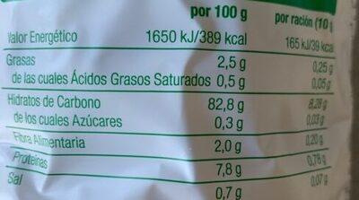 Tortitas de arroz - Nutrition facts