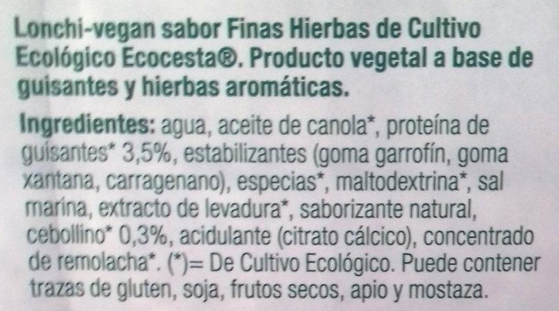 Lonchi-vegan sabor finas hierbas - Ingredientes - es