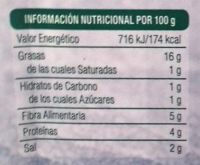 Lonchi-vegan sabor finas hierbas - Información nutricional - es