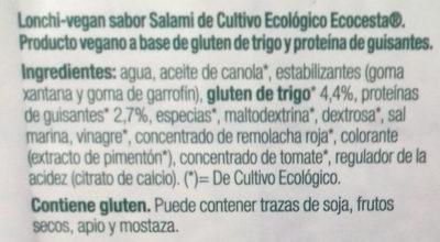 Lonchi-vegan sabor Salami - Ingredientes