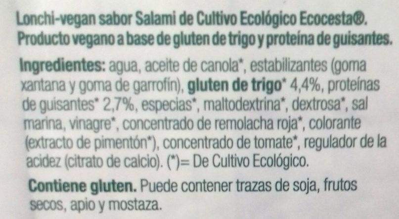 Lonchi- vegan sabor salami - Ingrédients - es