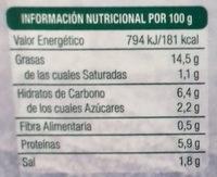 Lonchi-vegan sabor Salami - Información nutricional
