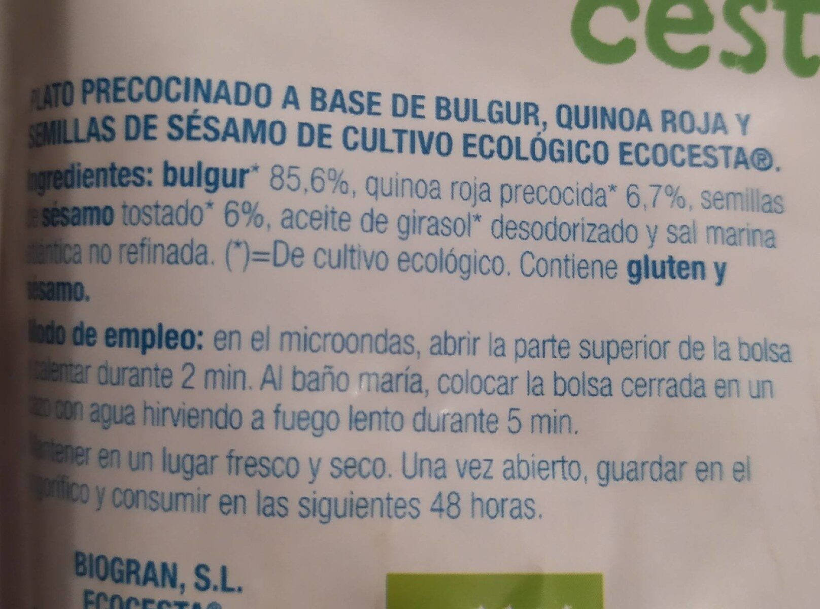 Bulgur, quinoa roja y semillas de sésamo - Nutrition facts - es