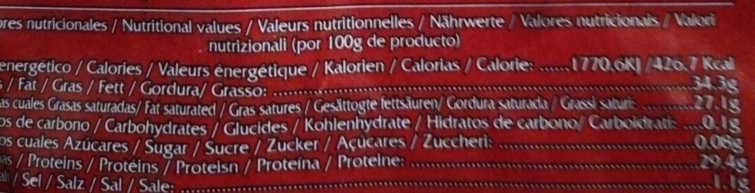 Chorizo dulce extra - Informations nutritionnelles