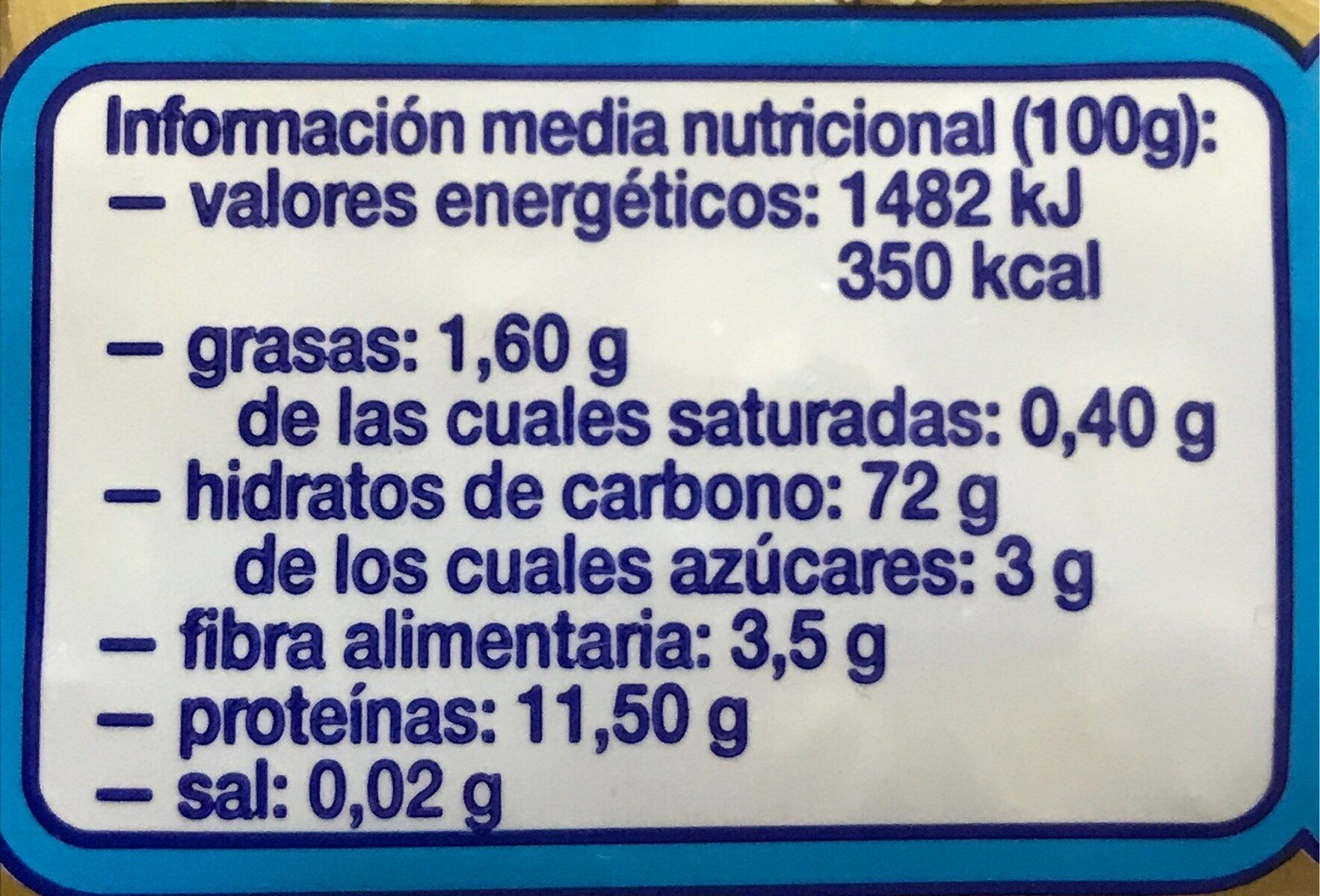 Galets pequeños - Información nutricional