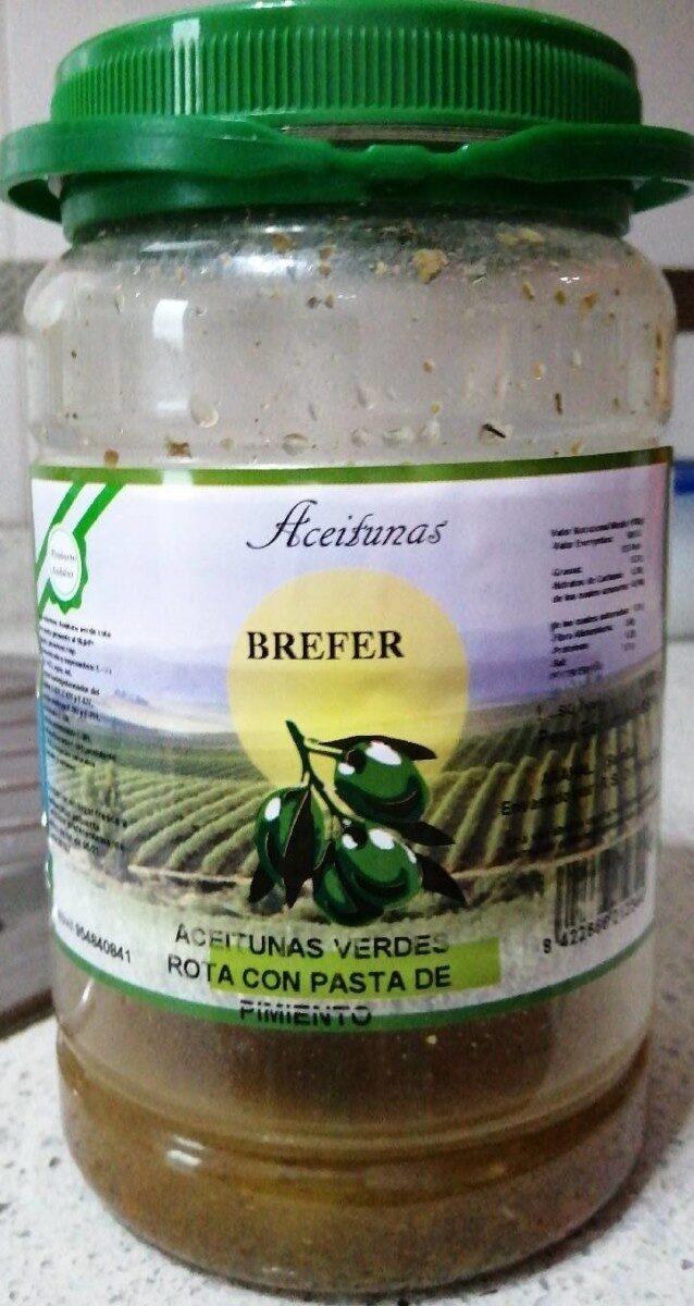 Aceitunas verdes rota con pasta de pimiento - Producto - es