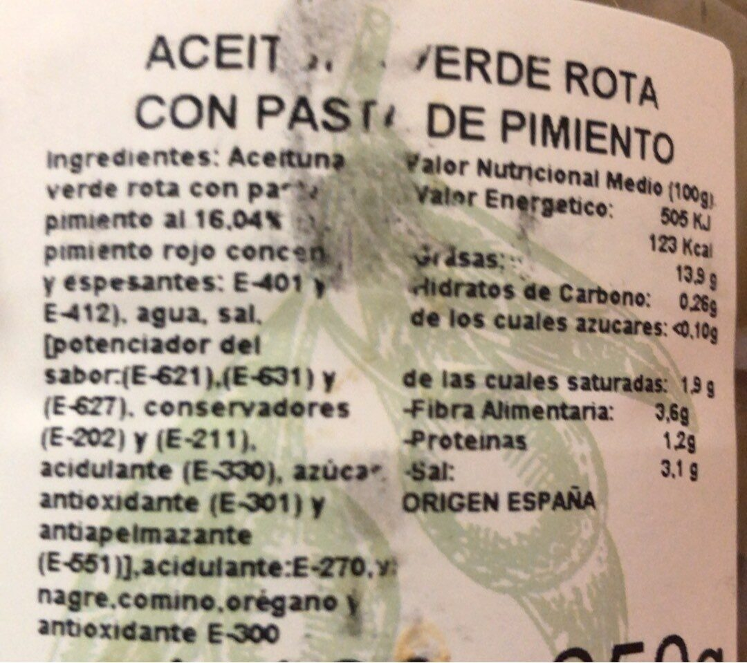 Aceitunas verdes rota con pasta de pimiento - Información nutricional - es