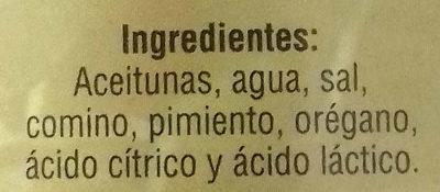 Aceitunas verdes enteras aliñadas. Gordal - Ingredients