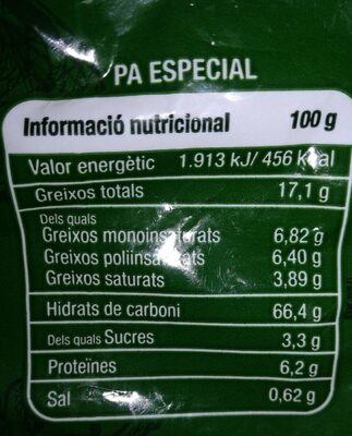 Galletas de aceite integral 400 gr - Información nutricional