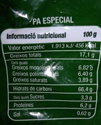 Galletas integrales - Informations nutritionnelles