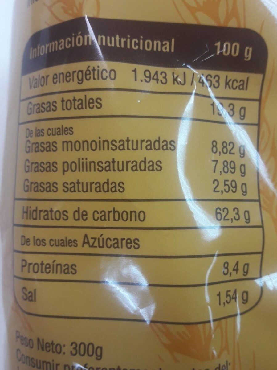 Galletas de Aceite de Centeno 300 GR - Informations nutritionnelles - es