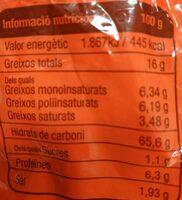 Galletó de mallorca classiques - Información nutricional