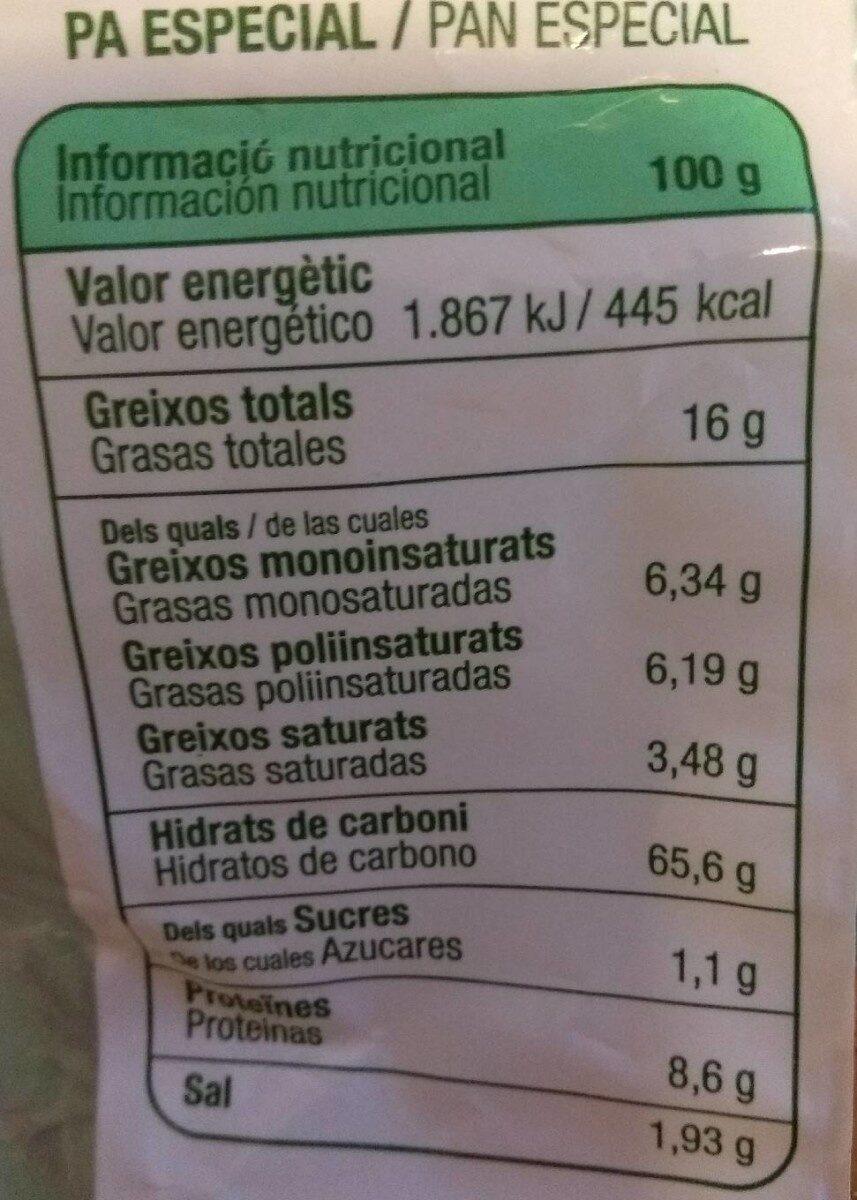 Galleta romero 240 gr - Información nutricional