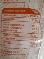 Galletas de aceite de xeixa 300 gr - Información nutricional - es