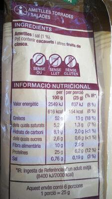 ametlles torrades i salades - Información nutricional