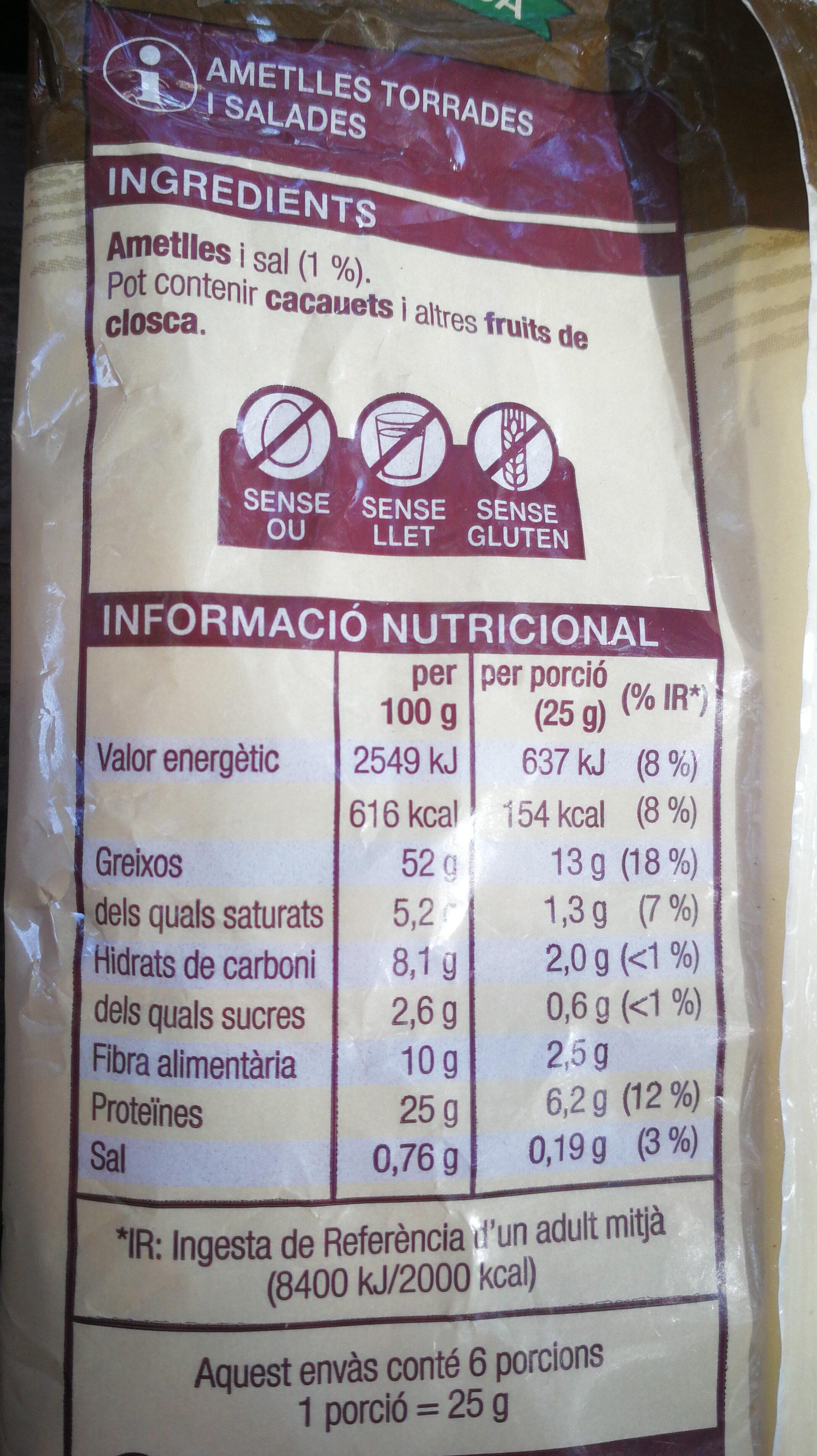 ametlles torrades i salades - Información nutricional - ca
