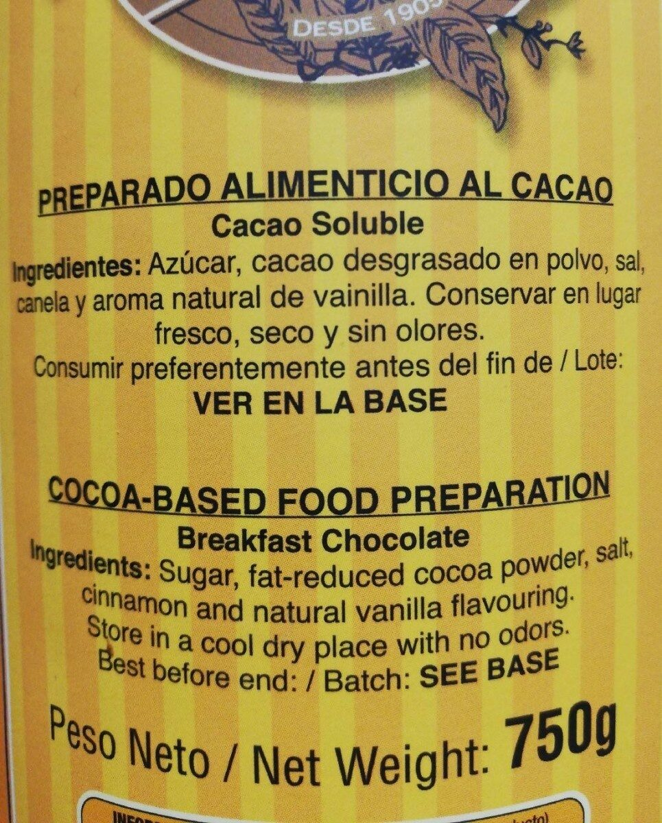 Cacao soluble - Nutrition facts