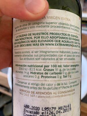 Oda a Nuestra Tierra nº 7 aceite de oliva virgen extra sabor equilibrado botella 500 ml - Informations nutritionnelles - es