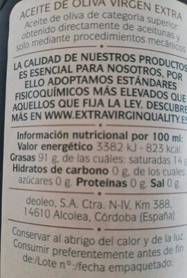 Aceite De Oliva Virgen Extra - Informació nutricional - es