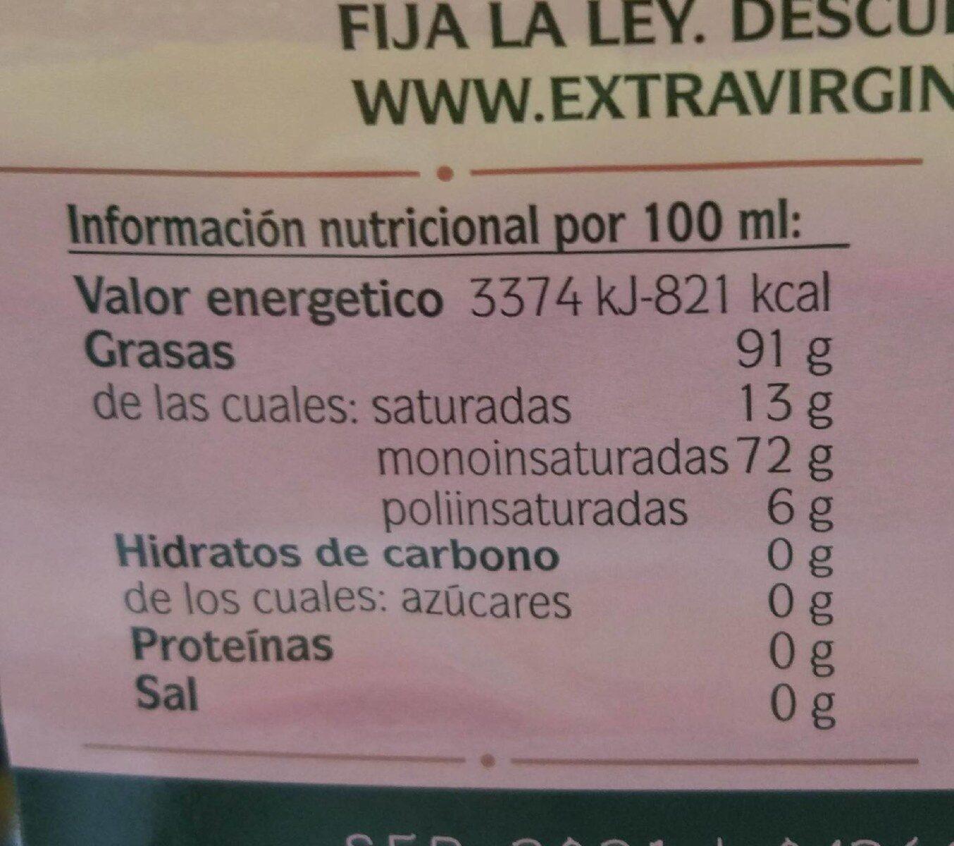 Aceite de oliva virgen extra - Informació nutricional - fr