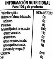 """Aceite de oliva virgen extra """"Hojiblanca"""" - Información nutricional"""