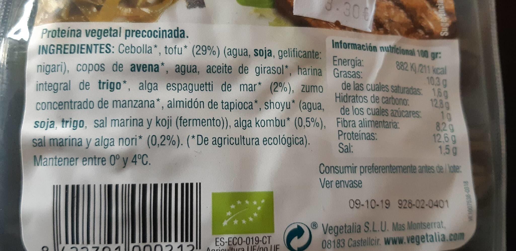 Vegeburger Tofu y algas - Información nutricional